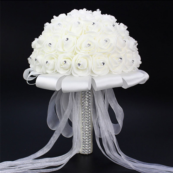 Picture of Bridal Bouquet Brooch Accessories Bridesmaid Artifical Flower Wedding Supplies