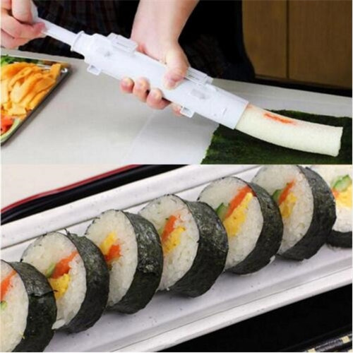 Sushi Mold Maker Bazooka Sushi Rolls Making Tool Rice Ball Mould Roller Cooking Tools (Color: White)