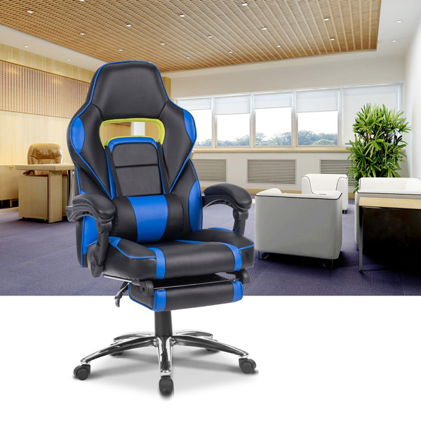 Pleasing Do Not Ship To Po Box Langria Ergonomic High Back Faux Leather Racing Style Reclining Computer Gaming Executive Office Chair With Padded Footrest Machost Co Dining Chair Design Ideas Machostcouk