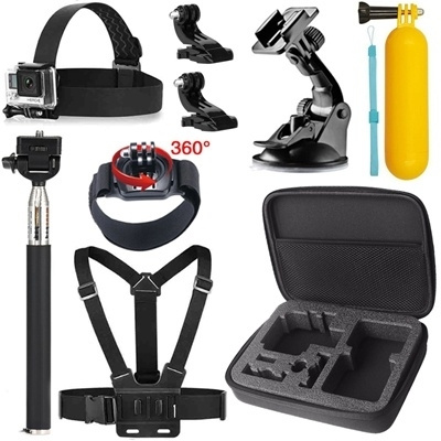 Picture of Accessories Kit For Gopro Hero 4session/4/3+/3/2/sjcam/sj4000 Medium Size Carry Bag+monopod Pole+floating Handle Grip+suction Cup Mount Holder+head Strap+chest Strap+360 Degree Rotation Wrist Strap Color Black