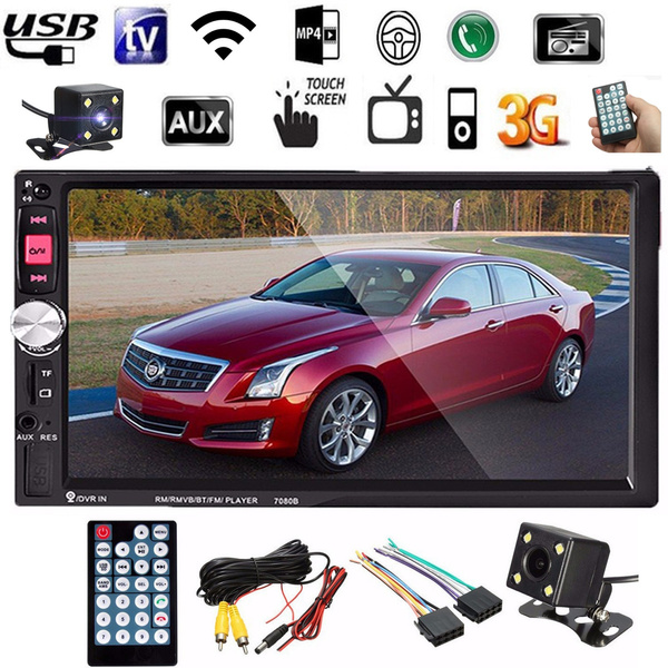 Picture of 7'' Hd Bluetooth Touch Screen Lcd Monitor Double 2-din Car Stereo Radio Mp5 Mp3 Fm Aux Player Usb Sd+camera+power Cable Christmas Gift Colorblack Color Black