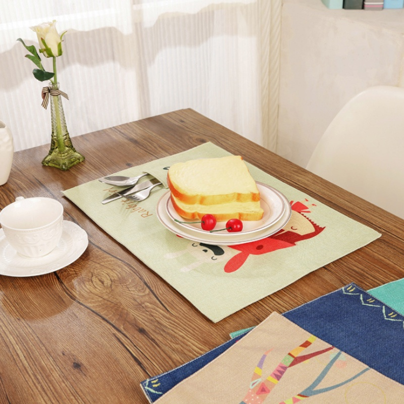 kids baby cotton linen dining table kitchen placemats place mat ebay. beautiful ideas. Home Design Ideas