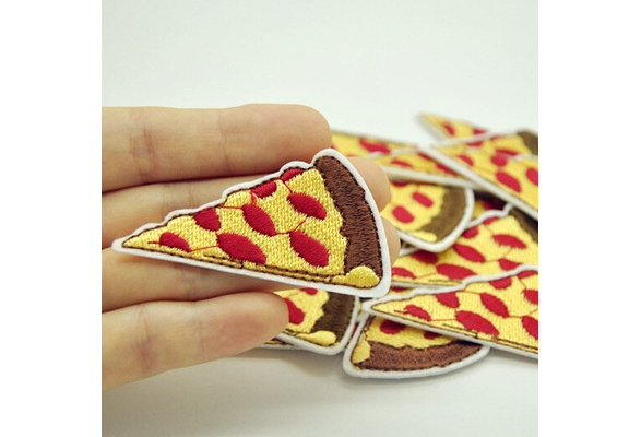 2Pcs Pizza Patch for Clothing Iron On Embroidered Sew Applique Cute Patch Fabric Clothes Badge Garment DIY Apparel Accessories
