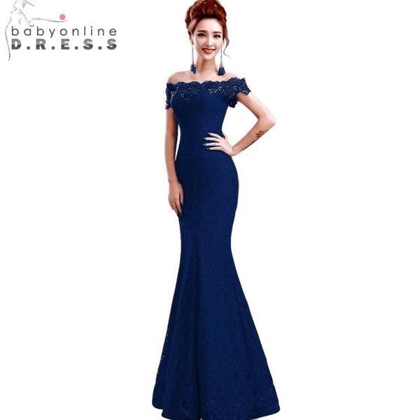 Abiti Da Sera Lunghi Blu.Elegante In Rilievo Di Cristallo Rosso Blu Reale Della Sirena Del