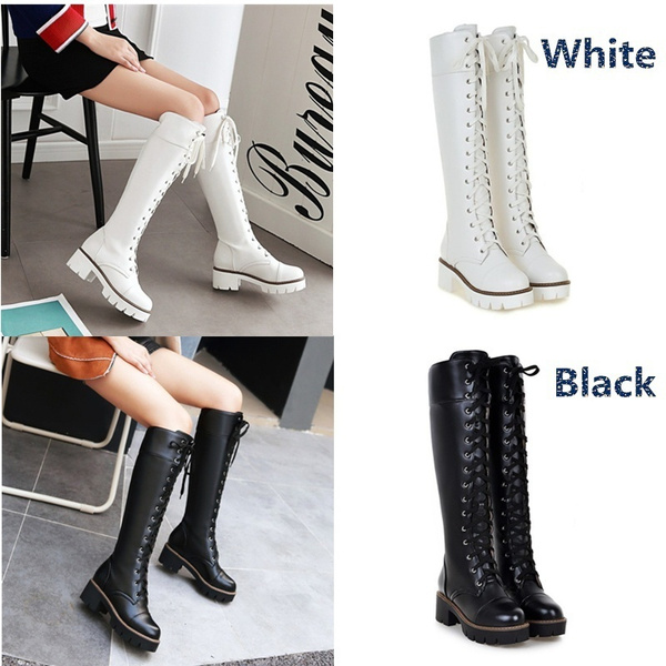 Picture of New Fashion Lace Up Women Boots Soft Leather Pu Knee High Boots Platform Ladies Winter Motorcycle Boots