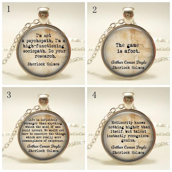 Sherlock Holmes Jewelry Arthur Conan Doyle Jewelry Sherlock Holmes Keychain  I'm Not A Psychopath, I'm A High-functioning Sociopath Necklace