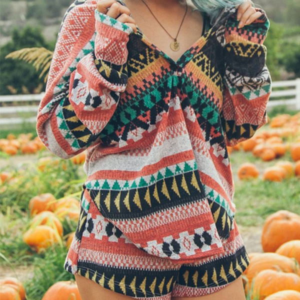 Picture of Woman Fashion Hood Print Tribal Jumpers