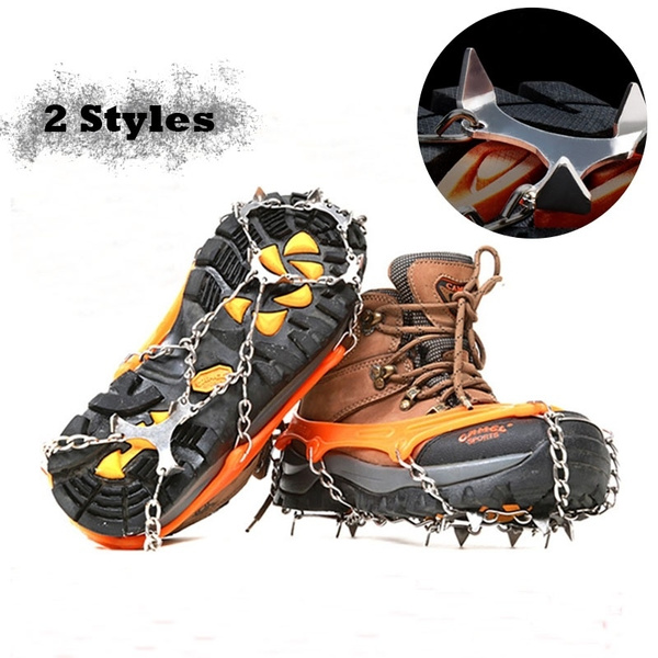 Hot Anti Slip 8-Teeth Ice Snow Shoes Spike Grip Boots Chain Crampons Grippers UK