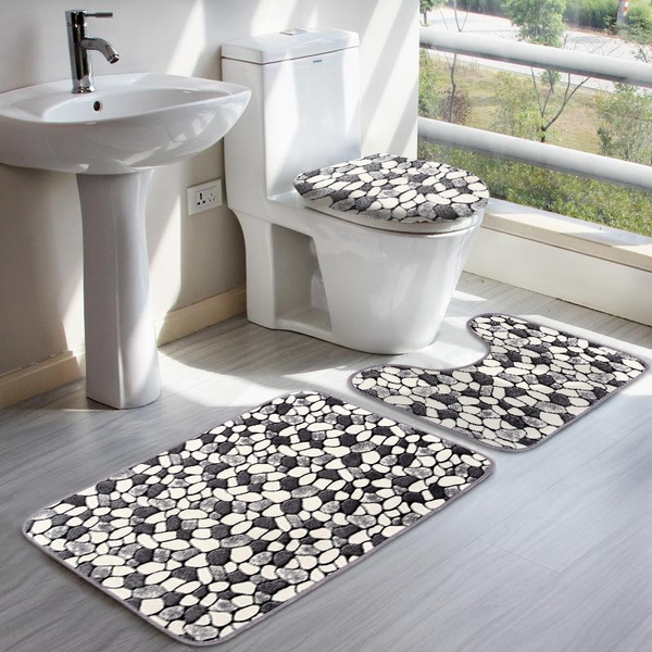 3PCS Non-slip Soft Pedestal Bath Mat Toilet Lid Cover Bathroom Washable Rug Set