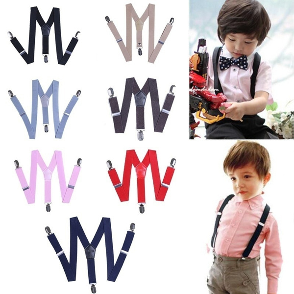Kids Boys Girl LIGHT BLUE Solid COLOR Elastic Suspenders Braces 1 to 8 years old
