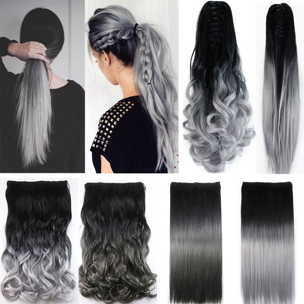 Silver Gray Ombre Color Curly Straight