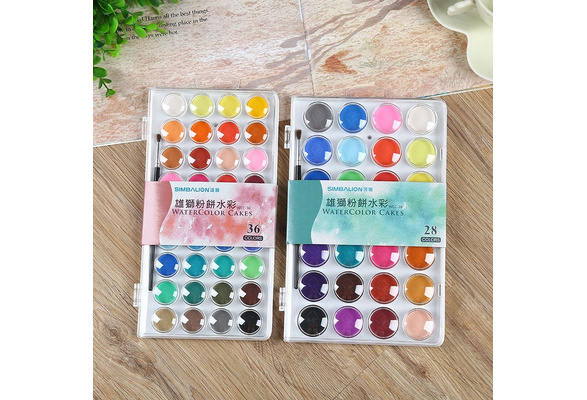 Solid Watercolor Cake Outdoor Paint Pigment Set 12/16/28/36 Colors Set Transparent Box Watercolor Painting Supplies ZHH1510/y1