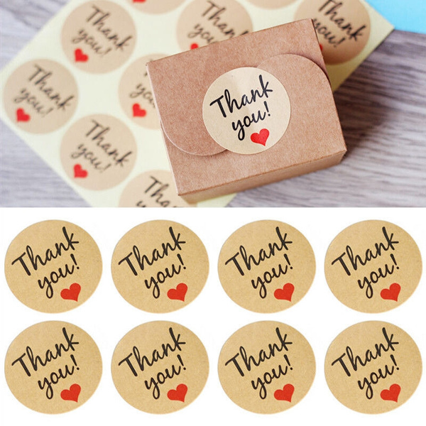 Picture of 120x Thank You Stickers Labels Sealing Craft Wedding Favours Letters Card Gifts Color Brown