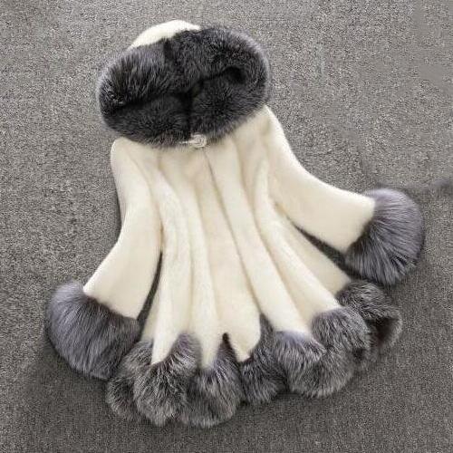 casual coat, fur coat, Fleece, hooded