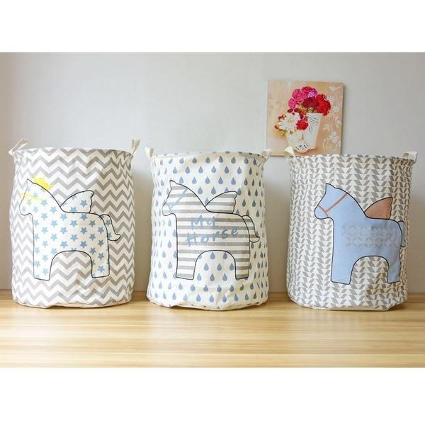 Wish Horse Clothes Canvas Laundry Basket Baby Kids Toys Clothing