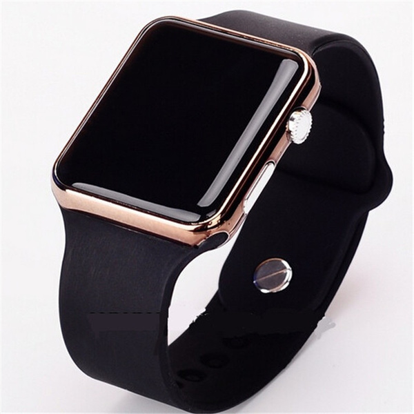Picture of Square Mirror Face Silicone Band Digital Watch Red Led Watches Metal Frame Wristwatch