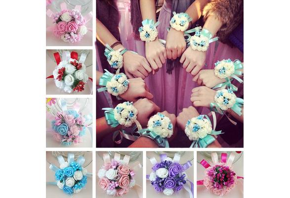 Wrist Corsage Bracelet Bridesmaid Sisters Hand Flowers Wedding Party Bridal Prom(7 cm in diameter)