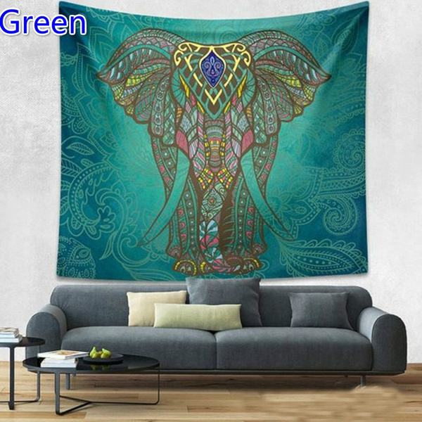 Wish Home Decorative Wall Hanging Tapestries Hippie Tapestry Stunning Elephant Print Throw Blanket