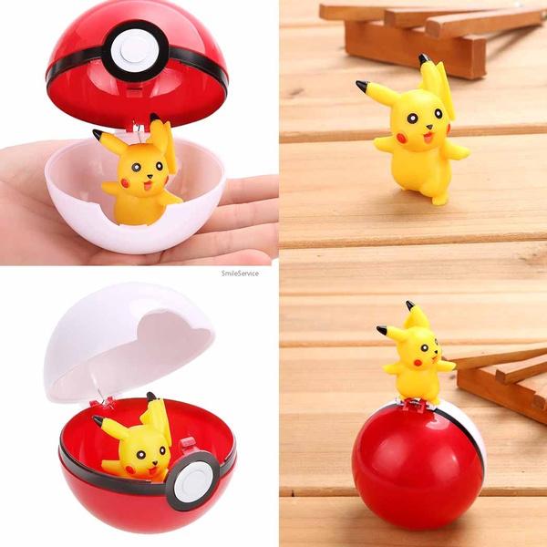 Funny Child Kids Pop-up Cartoon Plastic Pikachu Pokemon Pokeball Toy Gift