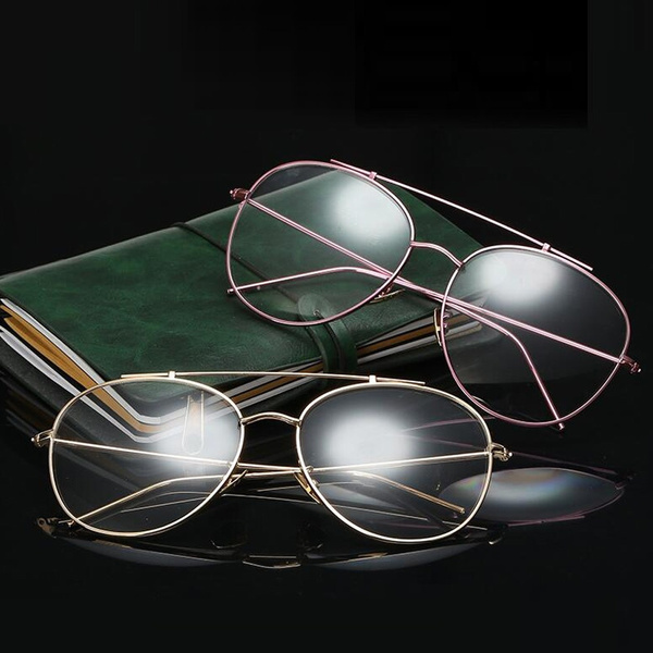 b51071feab Gold Clear Aviator Glasses Women Round Oversize Clear Lens Glasses ...