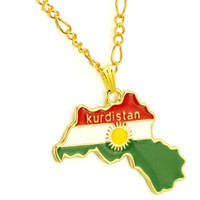 TTKP 4 Style Kurdistan Region Map Pendant Necklaces Chain 45Cm/60Cm,18K Gold Plated National Flag Of Kurdish Jewelry For Women Men