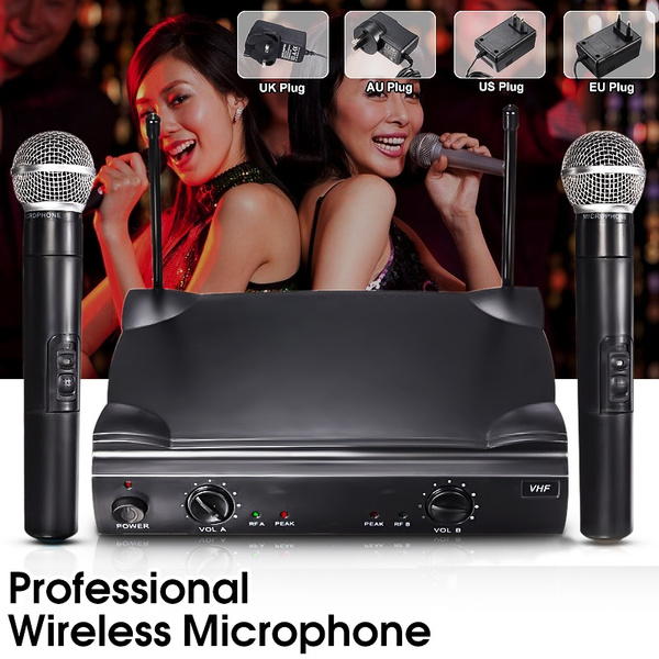 Picture of Ship To Au 2-5 Days Us/eu/uk/au Plug Dual Professional Wireless Microphone System Cordless Handheld Mic Kareoke Hines Ktv Home Party Supplies Speakers Gifts Color Black