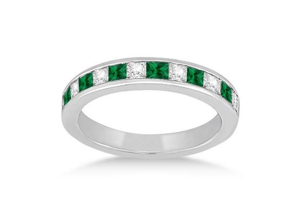 Fashion 925 Silver Natural Gemstones Emerald Wedding Birthstone Bride Engagement Ring Jewelry