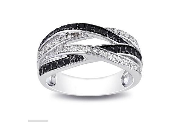 Black Round Sapphire & Zircon Engagement Wedding 925 Sterling Silver Ring for Women