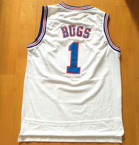 468ae28a426 BUGS BUNNY 1 jersey Space Jam White Tune Squad Basketball BUGS 1 ...