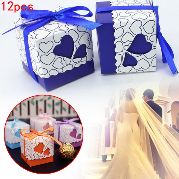 Picture of 12pcs Ribbon Candy Box Packing Wedding Party Favour Birthday Heart Shaped Gift