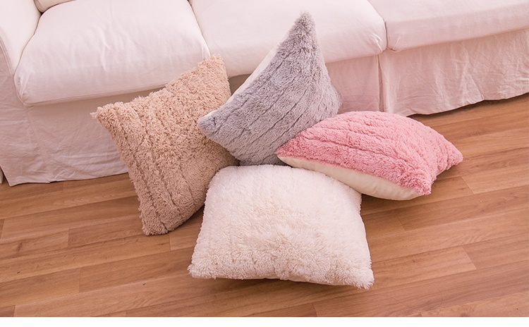Chic Home Decor Plush Square Throw Pillow Fluffy Fur