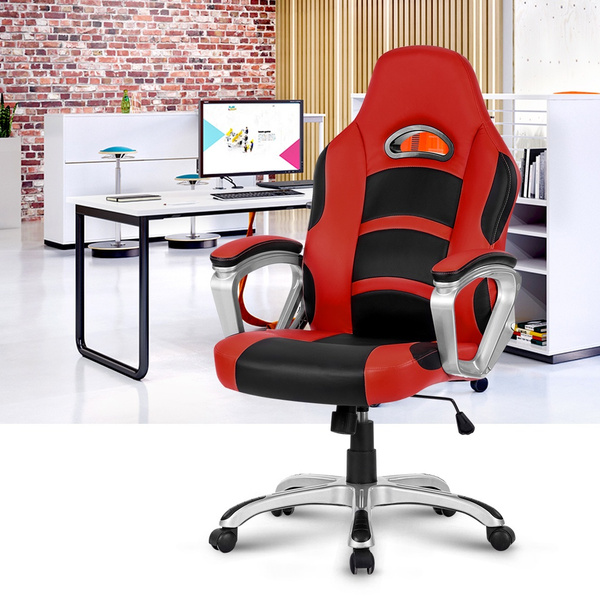 Brilliant Us Ml 7243 Office Chair Langria Ergonomic High Back Faux Leather Racing Style Computer Gaming Executive Office Chair With Padded Armrest Adjustable Machost Co Dining Chair Design Ideas Machostcouk