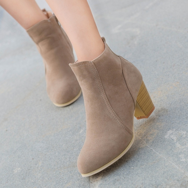 Picture of Women Suede Leather Chunky High Heel Short Ankel Boots Martin Boots