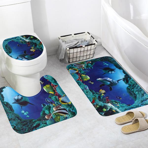 3Pcs Velvet Dolphin Bathroom Contour Rug And Toilet Lid Cover Mat Set Home Decor