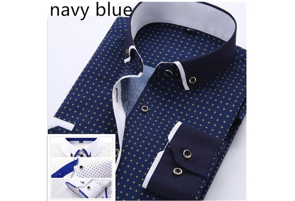Men's Fashion Cotton Shirts Long Sleeve Shirts Business Printed Casual Shirts Plus Size S-4XL