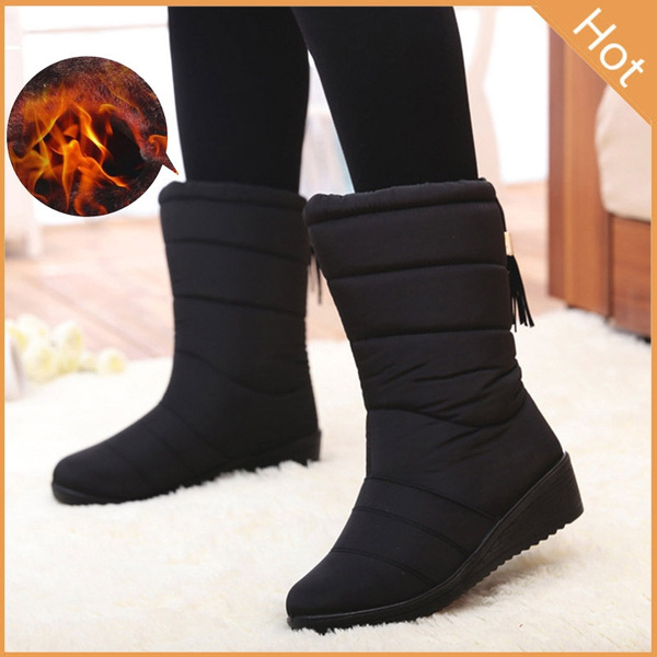 Picture of Hot Winter Women Snow Boots Female Casual Ankle Boots Black Red