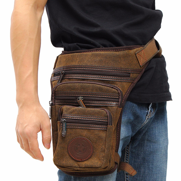 Picture of Men's Canvas Travel Hiking Motorcycle Riding Belt Waist Thigh Leg Bag Pack Pouch Colorcoffee Color Coffee