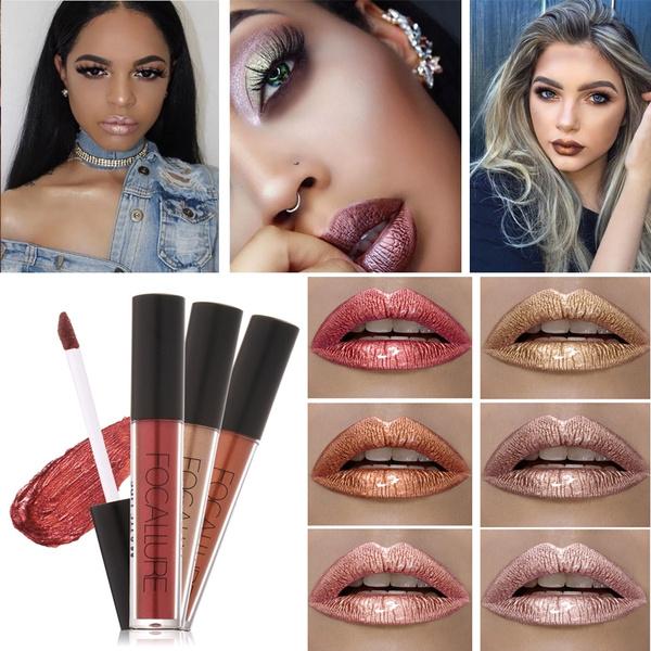 Picture of Lipstick Lip Tattoo Makeup Long Lasting Pigment Nude Gold Metallic Lipgloss Matte Liquid Velvet Metal Lipstick