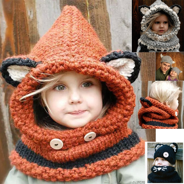 1a013ee77 Fox Cute Fashion Fox Ears Shawl Autumn and Winter Wool Hat Knitted Hat Baby  Cap Infant Children Hooded