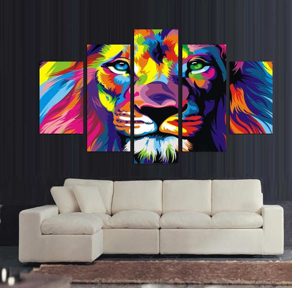 Modern Art wall Home decor Animal tiger and lion oil painting Printed on canvas