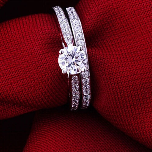 Women Engagement Wedding 2Pcs Set Cubic Zirconia Silver Plated Ring