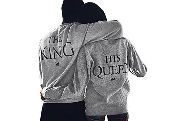 The King&His Queen Men Women's Casual Lover Couple's Cotton Sweatshirts Hoodies for Autumn Winter
