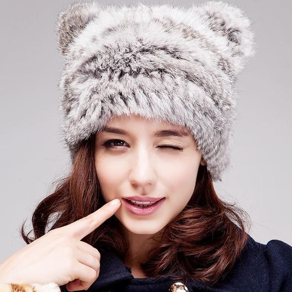 5f1d1cf8f92 Stylish Womens Fluff Cap Soft Warm Faux Fur Beanies Ear Protect Cute ...