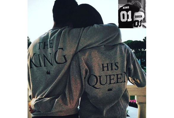 The King And His Queen Casual Lover Couple's Cotton Hoodie Sweatshirts