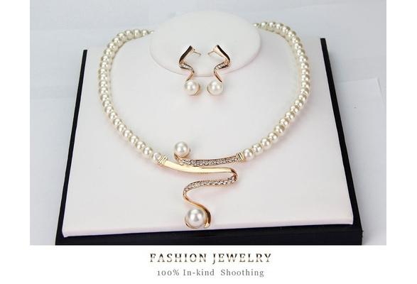 New Women Bridal Wedding Party Prom Pearl Rhinestone Necklace Earrings Jewelry