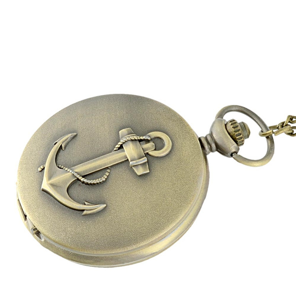 Wish Bronze Antique Quartz Fob Pocket Watch With Chain Anchor