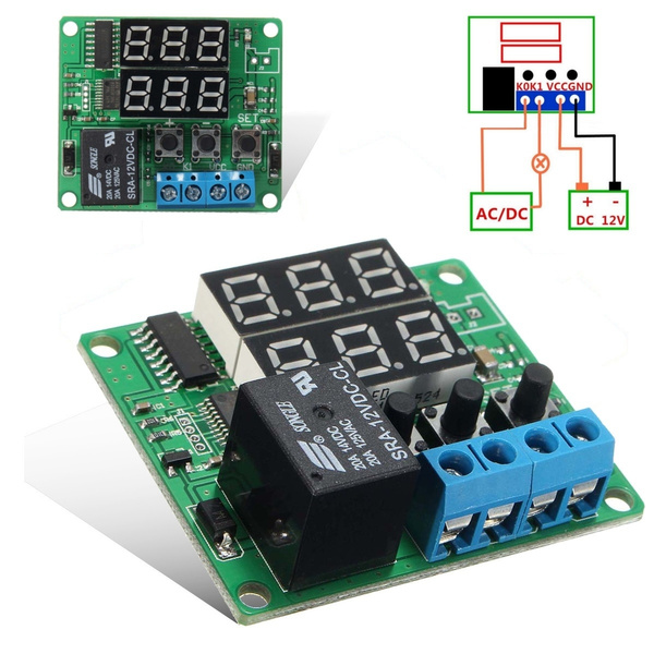DC 12V Dual LED Multifunction Cycle Timer Delay Time Switch Control Relay Module