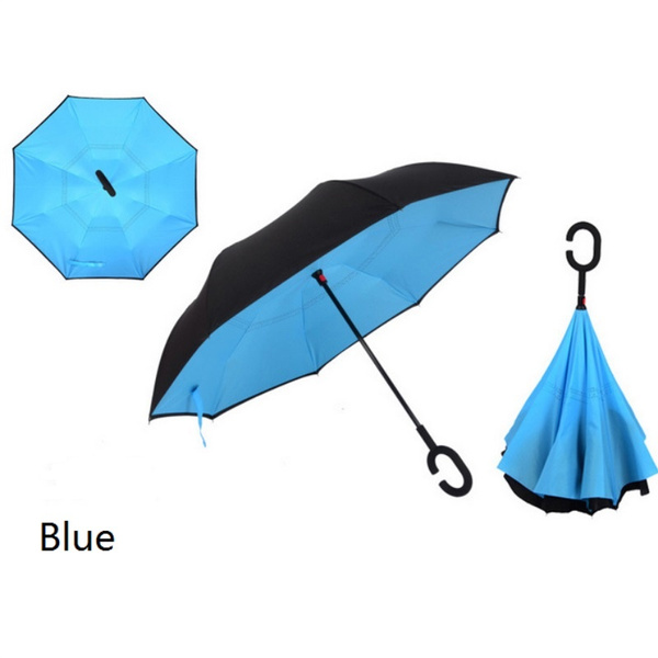 Double Layer Inverted Umbrella With C-Shaped Handle Aladdins Wish Reverse Windproof Umbrella UV Protection Upside Down Umbrella