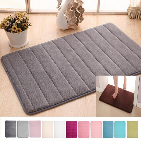 Microfibre Memory Foam Mat Absorbent Slip-resistant Rugs Pad Bathroom Shower Bath Non-slip Mats Carpet 11 Colors(Size: 40 x 60cm/50 x 80cm)