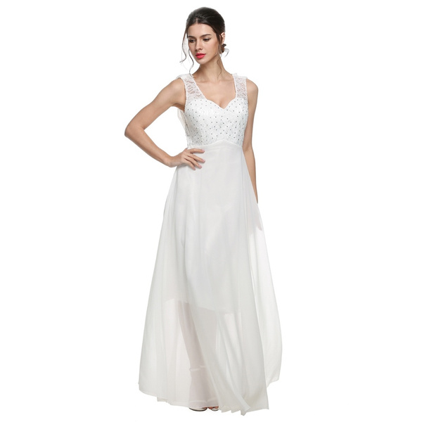 Wish | Women Elegant White Ivory Chiffon Wedding Backless Lace Dress ...